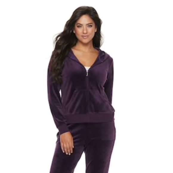 Juicy Couture Jackets & Blazers - Juicy Couture Ultrasoft Velour Hooded Jacket Plum